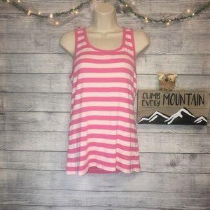GAP Outlet Pink/White Stripe Ribbed Tank